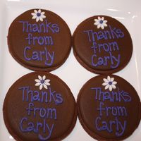 "Thank You Cookies  3.5"" chocolate cookie rounds covered with royal icing. These were made for a little girls party.. they were putting them in the loot..."
