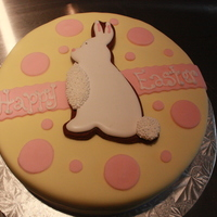 Easter Cake A last minute Easter Cake, covered in fondant. Bunny is a chocolate cookie decorated with royal icing. TFL