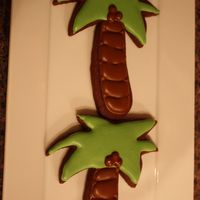 Palm Trees   large palm tree cookies. Rolled chocolate cookies with royal icing.