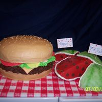 Cheeseburger And  Watermelon