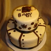 Oh Baby Shower Cake The parents don't know boy or girl but the nursery is being done in ivory and browns.