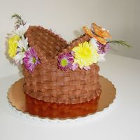 Simple Basket Order for customer...requested real flowers. Marble cake with bc