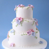 3 Tier Cake With Hydrangea Flowers