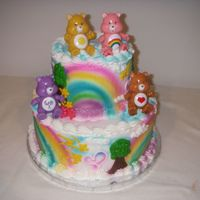 Care Bears! a 10 x6 in buttercream. Inspired by Freeds bakery.com.