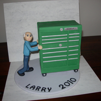 Automotive Tech Retirement retirement cake for my husbands coworker. His toolbox is so large he has to use a stool to reach the tools in the top. He was surprised and...