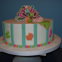 Melissa's Baby Shower This cake was made using the shower invitation and nursery for inspiration. Iced in buttercream using Sugarshack's method. This was my...