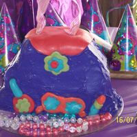 Purse Cake I used frozen pound cakes. The flap, lipstick, nail polish and sunglasses were starburst candies. This was alot of fun to make.