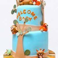 Welcome Baby Baby Shower cake for a forrest animal themed baby shower for a boy.