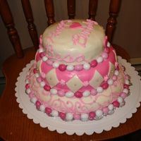 Pink & White Birthday Cake My standard three layer MMF covered cake. Decorated with MMF diamond pattern; Piped on swirl and mini floral design; Pink and white peanut...