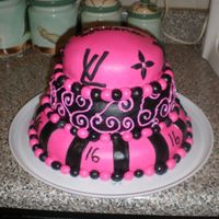 Sweet 16 pink and black dyed marshmallow fondant sweet 16 birthday cake, for a girl who loves Loius Vuitton, and her initials are LV! This is my...