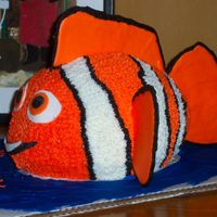 Nemo Clownfish  This was for my 3 year old party at daycare. Buttercream body/fins are color flo (1st attempt - -took forever to dry) & eyes are...