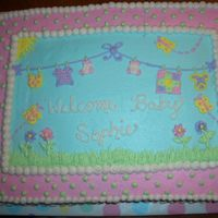 Baby Shower   I got this idea from tammiemarie. A customer saw it and fell in love!! Thanks a bunch!! 11x15 yellow cake with all BC icing.