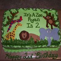 Resizedzoo.jpg   Iced in buttercream with fondant animals. inspired by similar cake seen here on cc. Done for 2 year old birthday