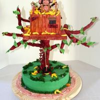 "Monkey_Treehouse.jpg This was so much fun to do! Base cake was 14"" and treehouse was 8"" tripple stacked. Shaped the branches out of wire and then..."
