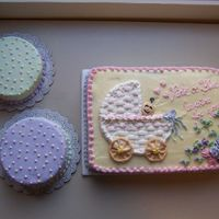 "Wilton Baby Carriage I also made 2 6"" cakes, so my 2 co-workers could take these home to celebrate with their very pregnant wives, who weren't at the..."