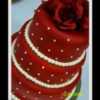 Red...red....wine 3 tier chocolate cake with raspberry/bc filling. fondant covered airbrushed with wht swiss dots and silk flower topper.