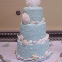 3 Tiered Round Beach Themed Though this was for a shower it was basically a wedding cake. double layer each tier with bc base covered in fondant. I purchased natural...