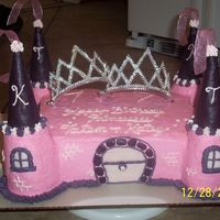 Castle Cake This cake was for two girls sharing a birthday and party. It is all buttercream icing with fondant covered sugar cones for the towers. The...