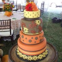 Fall Harvest Themed Wedding Cake THis cake was inspired by a fellow cc'r done in hot pink, aqua and black. During my consult my clients saw it and loved it and wanted...