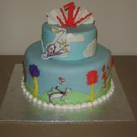 Dr. Seuss Cake Dr. Seuss themed cake for my nephew's first birthday. Topper, trees and cakes all done in fondant. Images are laminated as my sister...