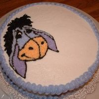 Eeyore  OK. Attempt number two at decorating a cake. I just transferred an image of eeyore using piping gel, then outlined and filled in. I'm...