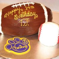 Football & Baseball Cake Choc. football (used 2 of football pan) and mini ball (yellow) for baseball. Choc & BC frosting. Panther paw is FBCT. Thanks for...