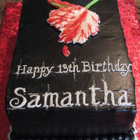 Book Cover Copy Birthday Girl loves the Twilight series so I did this for her 13th Bday. Rich chocolate cake and choc icing dyed black. The tulip started...