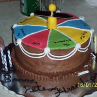 Dad's Spinner 60Th Birthday Cake Double chocolate, chocolate ganache, chocolate BC. Fondant top, shooter tube for spinner support. This was such a fun cake to do, and my...
