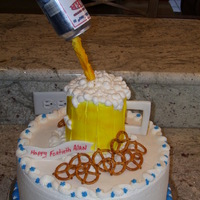 "Beer Cake 12"" round Lemon with raspberry filling and buttercream icing"