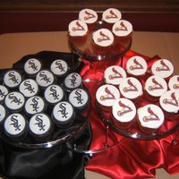 St. Louis Cardinals & Chicago White Sox Grooms' Cupcakes Edible images used to create baseball team cupcakes for grooms cake.