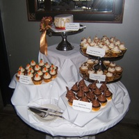 Dessert Buffet Cupcakes to compliment wedding cake at wedding reception brunch.