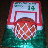 Birthday Basketball Cake White cake with vanilla buttercream frosting. Accents are MMF.