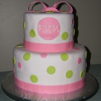 Girlie Baby Shower Cake White butter cake with strawberry cream filling and vanilla butter cream. Cake covered in MMF.
