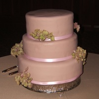 Round Wedding Cake Khaki wedding cake with blush ribbon. Example of how different a cake can look in different lights. Same cake, different angle. Covered in...