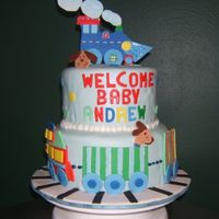 Baby Boy Shower Cake Train cake designed after a bedding set from Pottery Barn Kids.