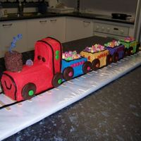 Front View Of Logan's Train Cake Logan's cake from the front.