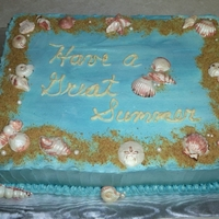 Cake For Teachers SMBC, white chocolate shells, graham cracker & brown sugar sand. I loved this cake!