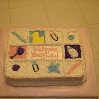 Quilt Cake I was trying to copy some blocks that are being used as decorations. Guess it turned out okay.