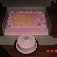 "1 St Birthday 1st paid cake, white cake with vanilla pudding for filling, 1/4 sheet.All they said was lots of pink! 5"" smash cake."
