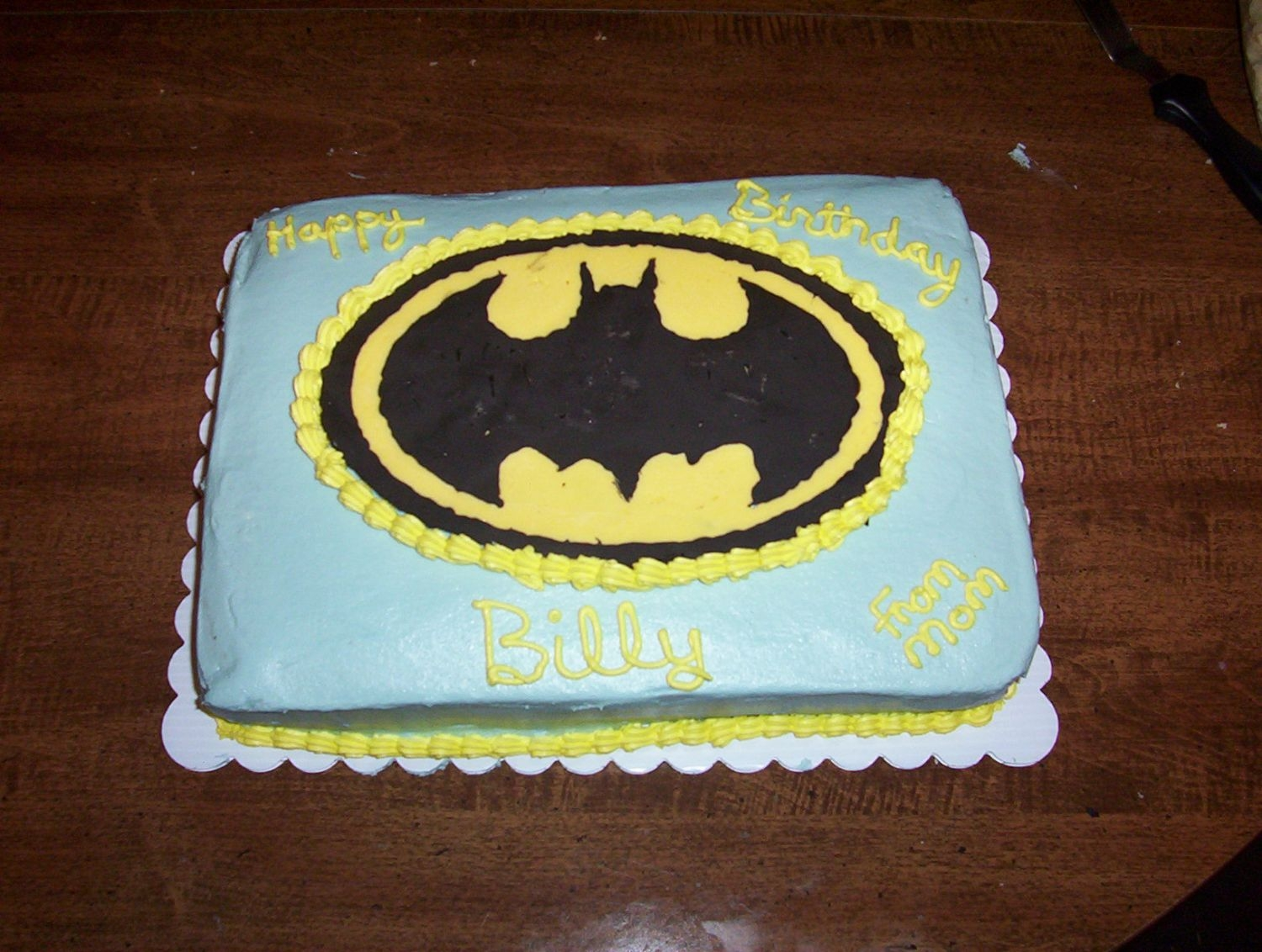 Batman Cake batman cake made for 10 year olds birthday.It was for the same women who bought the pink cake, she asked me last night at around 8:30 if it...