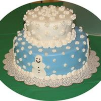 Snow Storm!! This is my first entry into a contest, so I hope it is received well. Made for a family Holiday party. Top layer white cake w/ apricot...