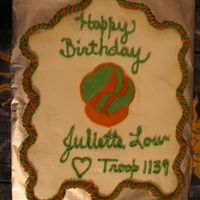 B'day Cake For Juliette Low - Founder Of The Girl Scouts DD's Brownie Troop is celebrating the birthday of Juliette Low, founder of the Girl Scouts tomorrow (her b'day is 10/31). Cupcake...