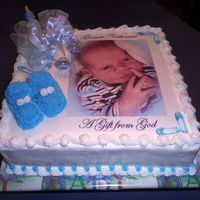 Baby Shower With Picture This cake was inspired by several here on CC. Thanks for the inspiration!! It was a chocolate cake filled with strawberry filling and fresh...