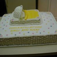 Bassinet Baby Shower   I made this cake for my mom's boss several years ago. It was the first baby shower cake I ever made.