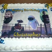 Wall-E Birthday Cake I recently made this edible image cake of Wall-e for my son's 5th birthday. Half chocolate, half vanilla with whipped buttercream...