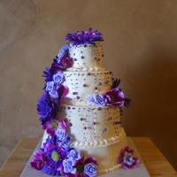 Birthday Cake With Purple Flowers