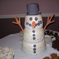 Snowman This cake was one of the funnest cakes I have done it is 12x3 10x3, 8x3 the hat is card board covered in MMF the nose, arms, eyes, buttons...