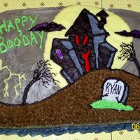 Happy Booday  I made this cake for a friend's birthday. He just turned 27 and is a fan of horror-type films. My husband is the creator of the design...