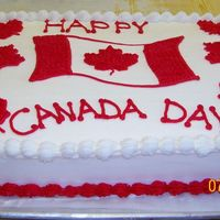 Canada Day  I made this cake at work (I'm the Baker at a local Farm Market). It was sliced and handed out to the customers on July 1st, which is...