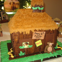 Bindi's Jungle Treehouse Bindi the Jungle Girl's treetop house. Chocolate fudge cake filled with peanut butter buttercream and chopped peanut butter cups. RKT...